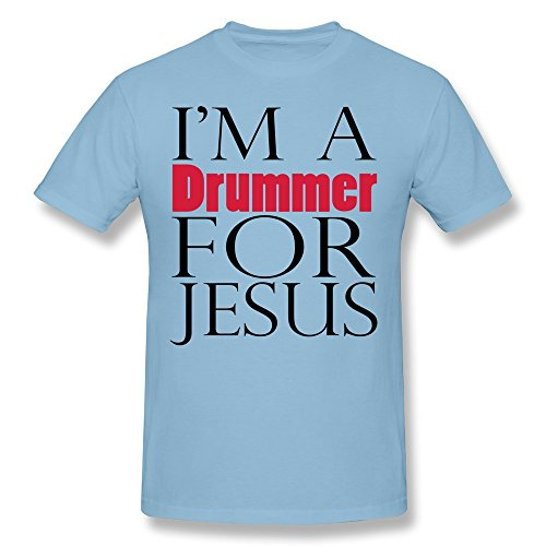 AHOO Men's Tee Shirt I Am A Drummer For Jesus SkyBlue Size XXL