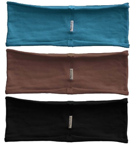 3-pack hBand stretchy sports headbands Deity Collection (Black, brown, teal) for yoga, exercise, sports or any activities by Absolute Yogi