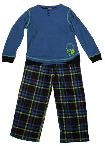 St. Eve Boys Thermal & Fleece Loungewear Set (S (7/8), Headphones (Blue))