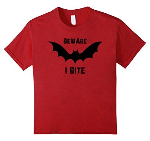 [Kids Beware I Bite Vampire Bat Halloween Costume T-Shirt Tee 8 Cranberry] (Cute Diy Womens Halloween Costume)
