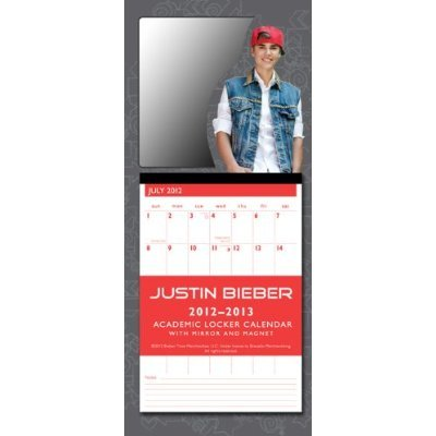 Justin Bieber 2013 Academic Locker Calendar + Free Pack Of Justin Bieber Collectors Silly Bandz!!!
