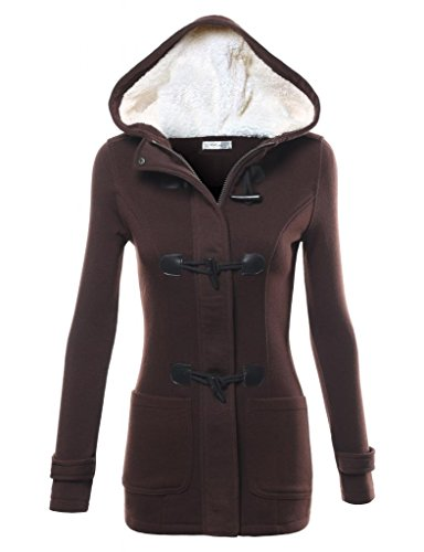 FPT Womens Toggle Hooded Duffle Fleece Coat BROWN 1X-LARGE