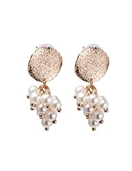 1.1 By Xpressionss Gold Plated Coin With Pearl Bunch Dangler Earring For Women