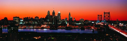 Wallmonkeys Philadelphia Skyline With The Benjamin Franklin Bridge Panoramic Wall Decals front-1058904