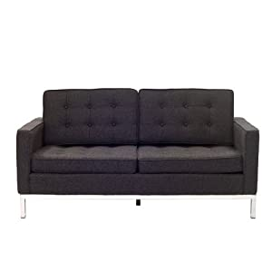 LexMod Florence Style Loveseat in Dark Gray Wool