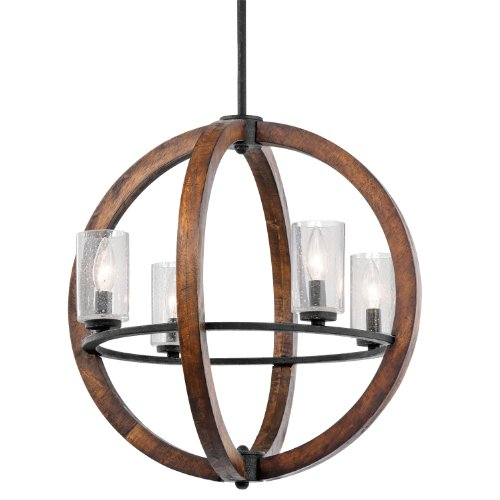 43185AUB Grand Bank 4LT Pendant, Auburn Stained Finish with Clear Seedy Glass Shades