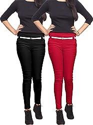 Xarans Stylish Black & Red Cotton Lycra Zip Jegging Set of 2 Pcs