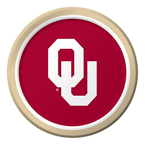 "Creative Converting 8 Count Sturdy Style University of Oklahoma Paper Plates (Dinner Size), 8.75"", Crimson/Cream - 1"