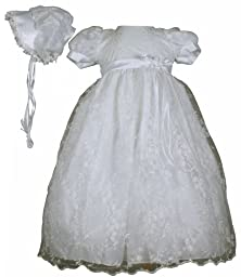 White Embroidered Tulle Christening Baptism Gown - Size M (6-12 Month)