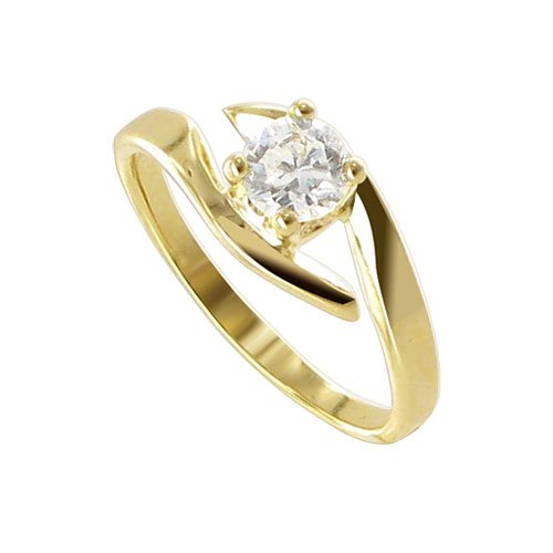Nickel Free 18 KT Gold Layered Round 5mm Cubic Zirconia Fascinating on 4 Prong Setting Polished Finish 2mm Band Promise Ring Size 6