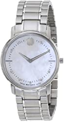 Movado Women's 0606691 Movado TC Stainless Steel Bracelet Watch with Diamond-Accented Mother-of-Pearl Dial
