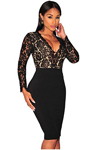 Kearia Women Sexy Deep V-neck Bodycon Long Sleeves Mini Slim Lace Dress Clubwear Dress Black Large