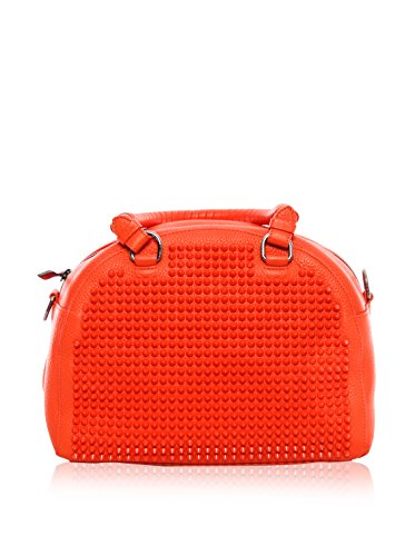 Christian Louboutin Women's Panettone Small Calf Ranch Leather Bag with Signature Spikes, Orange