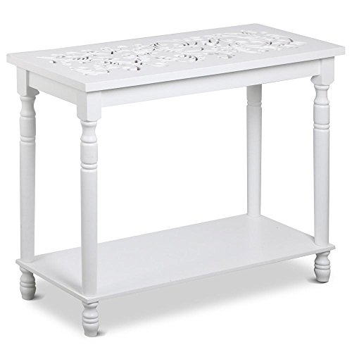 Topeakmart White Console Tables with Carved Desk Top/Leg and Lower Storage Shelf Entryway/Hallway Furniture