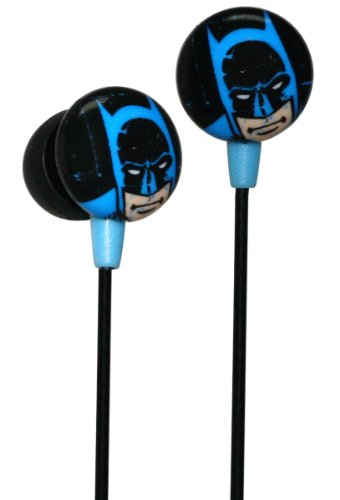 Ihip Dcf1030Bm Vintage Batman Face Hi-Fi Noise Reducing Printed Ear Buds (Earphones) Black/Blue