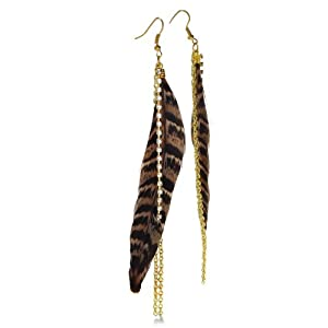 Long Brown Cheetah Print Dangle Feather Earrings, 5 1/2 Inches Long