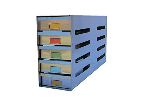"Avantek Stainless Steel Sliding Drawer Freezer Rack Holding 20 - 2"" Cryostorage Boxes - Fit Most Standard Upright Freezers"
