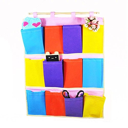 EVANA Wall Door Cloth Colorful Hanging Wardrobe Storage Bags Case 12 Pocket Home Organization Foldable Collapsible Rack