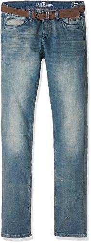 TOM TAILOR Jeans m. Gürtel Troy Slim, Uomo, Blu (Blue Denim Grey Cast), W30/L32 (Taglia Produttore: 30)