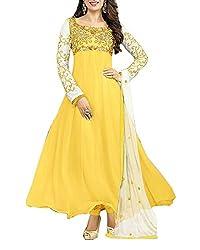 Surat Dream Women's Georgette Unstitched Dress Material(EC104, Yellow)