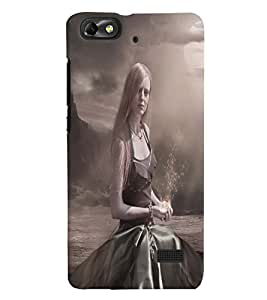 Fuson Loney Girl Back Case Cover for HUAWEI HONOR 4C - D4110