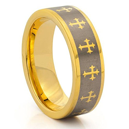 8Mm Flat Pipe Cut Two Tone Gold Plated Religious Cross Tungsten Carbide Wedding Band - Size 9.5