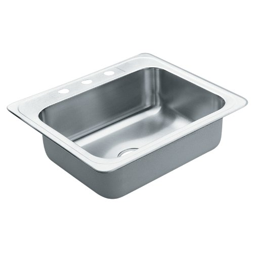 Moen 22868 Excalibur 3 Hole Stainless Steel 22 Gauge Single Bowl Drop In Sink, Stainless