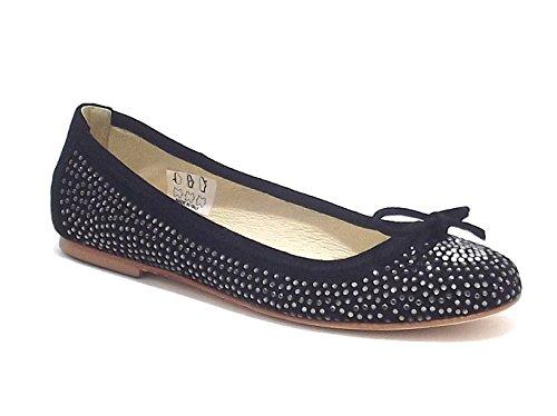 Twin Set scarpe ragazza, modello HS58CG, ballerina in camoscio con strass, colore nero fumè