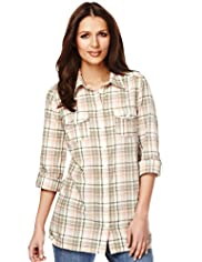 Indigo Collection Pure Cotton Oversized Checked Shirt