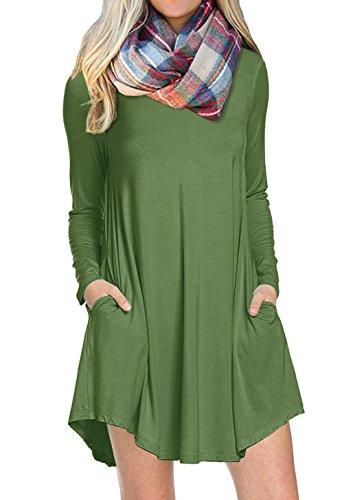 POSESHE Women's Long Sleeve Pocket Casual Loose T-Shirt Dress