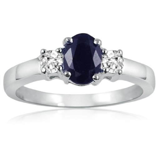 Blue Sapphire and White Topaz Three Stone Ring in Sterling Silver