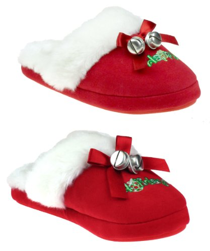 "Cheap Capelli New York ""Happy Holidays"" Slipper With Bow & Bells Ladies Indoor Slipper (B005MJZ8NI)"