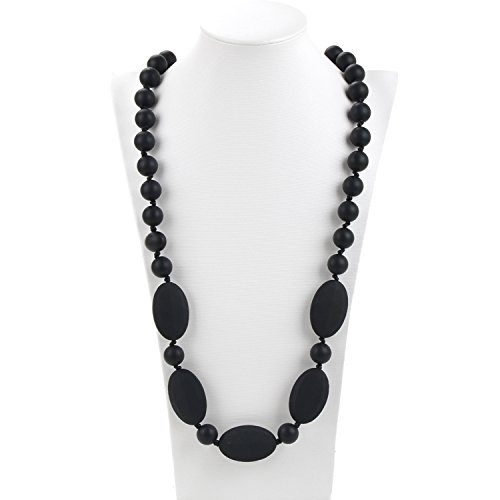 Consider It Maid Silicone Teething Necklace for Mom to Wear - FREE E-BOOK - BPA FREE and FDA Approved - One Love (Black)