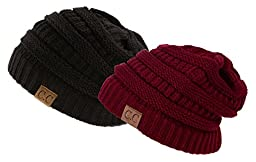 Trendy Warm Chunky Soft Stretch Cable Knit Slouchy Beanie Skully HAT20A (One Size, 2 PACK BLACK/BURGUNDY)
