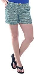 Lyla Women's Cotton Shorts (LWSA839_M, Yellow / Blue, M)