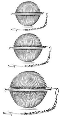 Stainless Steel Fine Mesh Tea Infuser Balls, Set of Three Tea Infuser Balls, Small Tea Infuser Ball, Medium Tea Infuser Ball, Large Tea Infuser Ball