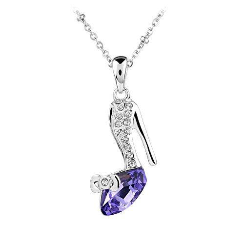 Le Premium® - alto tacco Collana con pendente Irregolare a forma di triangolo SWAROVSKI  tanzanite viola cristallo