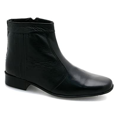 Best Offers Mens Zip Up Pleated Ankle Black Leather Boots in UK