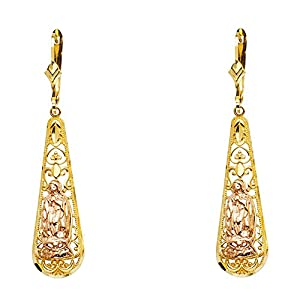 Wellingsale® Ladies 14k Two Tone Gold Polished Fancy Our Lady of Guadalupe Dangle Hanging Drop Earrings (10 X 98mm)