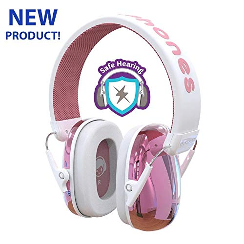 ONANOFF BuddyPhones Guardian Kids Ear Protection Earmuff Passive Noise-Cancelling for Safe Hearing Levels, Muffs Designed for Noise Reduction 26dB NRR, Perfect for Toddlers, Children and Teens, Pink (Color: Pink)