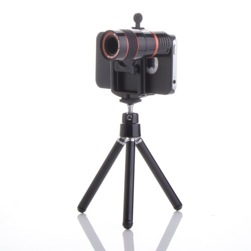 High Quality 8X Zoom Telescope Camera Lens Kit + Tripod For Iphone 4 4S