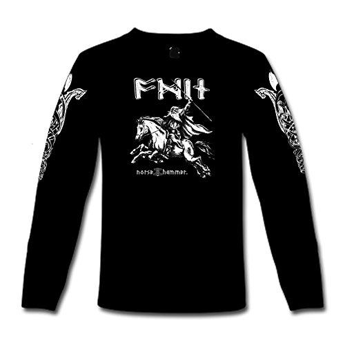 """T-Shirt a maniche lunghe """"Odin & Sleipnir"""" S-XXL Nero  nero"""