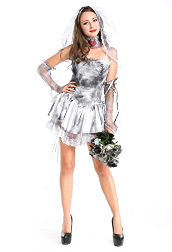 NonEcho Adult Bride Zombie Halloween Costume for Women