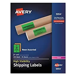 Neon Shipping Label, Laser, 2 x 4, Neon Assorted, 250/Box, Sold as 1 Box, 250 Each per Box