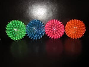 LED Flashing Bouncing Spiky Ball - Pack of 12