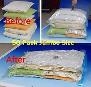 "50 PACK Space Saver Vacuum Storage Bags Jumbo Size 51""X40"