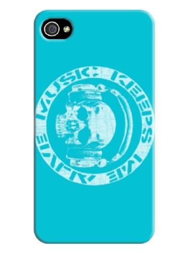 No Worry About Your Phone Got Damaged Any More,We Catch You Back ! Best Navy Blue Protector Fits For Iphone 4/4S Coolest Design With Wearing Headphones Skulls Pattern By-Cell Phone House