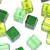 50 pieces 6mm Clipped Cube Style Value Crystal Glass Beads - Green Mix - A3064
