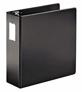Cardinal SuperStrength Locking Slant-D Ring Binder, 4-Inch, with Label Holder, Black (11822)