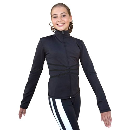 ChloeNoel Black Thin Stripe Ice Skating Jacket Girl 4-Adult XL